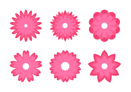 Set of color Flowers icons. Greeting cards. Stickers and labels. Mothers Day, Womens day