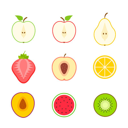 Big set of fruits and berries. Summer fruit. Fruit apple, pear, strawberry, orange, peach, plum, banana, watermelon, pineapple kiwi lemon Fruits vector collection Vector illustration Stock Vector - 124522054