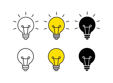 Bright idea icon set. Bulb icon. Brainstorming. Creativity Idea Vector illustration Vetores