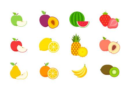 Big set of fruits and berries. Summer fruit. Fruit apple, pear, strawberry, orange, peach, plum, banana, watermelon, pineapple kiwi lemon Fruits vector collection Vector illustration Stock Vector - 124522061
