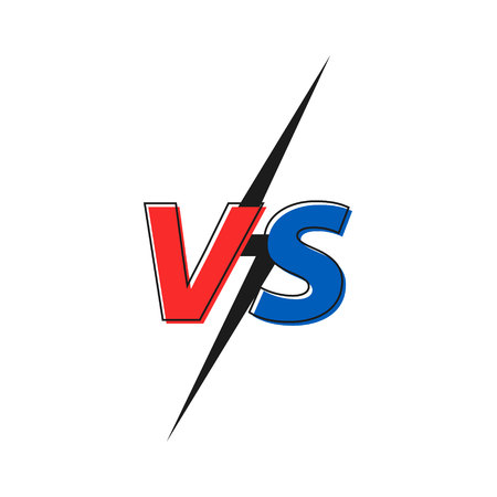 Versus VS letters fight. Versus text brush painting letters. Vector illustration Çizim