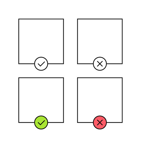 Check mark and cross template. Green and red. Yes or no accept and decline. Cheklist, approved. Vector illustration