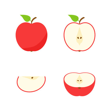 Set of fruits and berries. Summer fruit. Fruit apple, pear, strawberry, orange, peach, plum, banana, watermelon pineapple kiwi lemon Fruits vector collection Vector illustration Stock Vector - 124526505