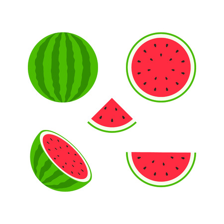 Set of fruits and berries. Summer fruit. Fruit apple, pear, strawberry, orange, peach, plum, banana, watermelon pineapple kiwi lemon Fruits vector collection Vector illustration Stock Vector - 124526533