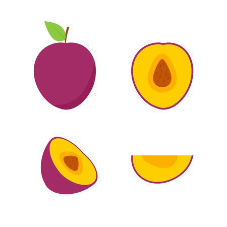 Set of fruits and berries. Summer fruit. Fruit apple, pear, strawberry, orange, peach, plum, banana, watermelon pineapple kiwi lemon Fruits vector collection Vector illustration Stock Vector - 124526536