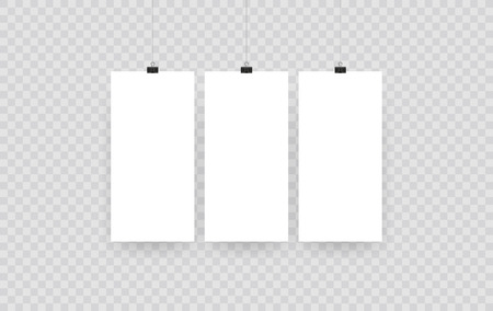 Blank hanging photo frames or poster templates isolated on transparent background. Photo picture hanging, frame paper gallery portfolio illustration