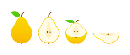 Set of fruits. Summer fruit collection. Fruits pear. Vegetarian and ecology food. Vector illustration Stock Vector - 124526630