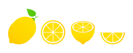 Set of fruits. Summer fruit collection. Fruits lemon. Vegetarian and ecology food. Vector illustration Illustration