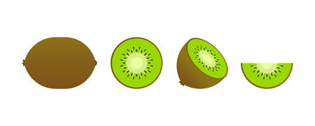 Set of fruits. Summer fruit collection. Fruits kiwi. Vegetarian and ecology food. Vector illustration