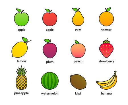 Big set of fruits and berries. Summer fruit. Fruit apple, pear, strawberry, orange, peach, plum, banana, watermelon, pineapple kiwi lemon Fruits vector collection Vector illustration Ilustrace