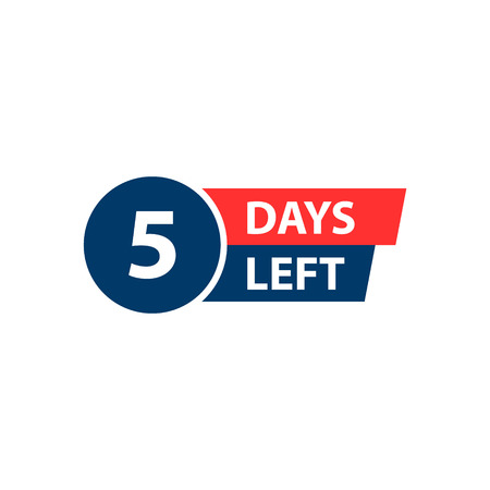 Number 5 of days to go. Collection badges sale, landing page, banner Ilustração