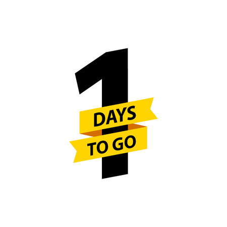 Number 1 of days to go. Collection badges sale, landing page, banner