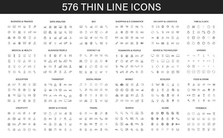 Big collection of 576 thin line icon. Web icons. Business, finance, seo, shopping, logistics, medical, health, people, teamwork, contact us arrows technology social media education creativity travel ecology