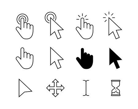 Computer mouse click cursor gray arrow icons set and loading icons. Cursor icon. Vector illustration. Mouse click cursor collection Ilustrace