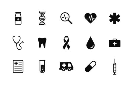 Healthcare and medical icons set. Vector illustration icons health, cross, dna, tablet. Collection modern icons infographic and medicine