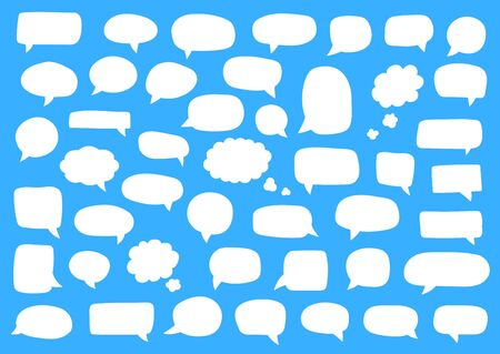 Set of speech bubbles. Blank retro empty comic bubbles. Stickers. Dialog balloons. Vector illustration Ilustrace