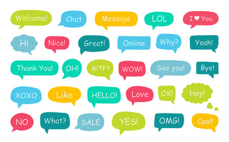 Set of speech bubbles. Yes, thank you, hello, wow, welcome, bye, ok, omg, wow, oh, xoxo what like love nice great cool sale lol hi Vector illustration