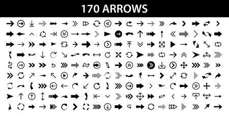 Arrows set of 170 black icons. Arrow icon. Arrow vector collection. Arrow. Cursor. Modern simple arrows. Vector illustration 向量圖像