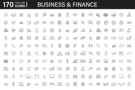 Big set of 170 Business and Finance web icons in line style. Money, bank, contact, infographic. Icon collection. Vector illustration