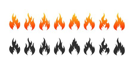 Set of Fire flames icons. Fire silhouette. Vector illustration