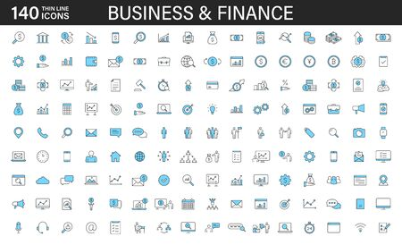 Big set of 140 Business and Finance web icons in line style. Money, bank, contact, office, payment, strategy, accounting, infographic. Icon collection. Vector illustration Ilustração