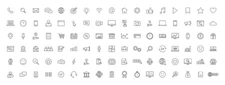 Big set of 100 Business and Finance web icons in line style. Money, bank, contact, office, payment, strategy, accounting, infographic. Icon collection. Vector illustration