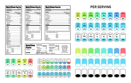 Nutrition Facts information label for box. Daily value ingredient calories, cholesterol and fats in grams and percent. Flat design, vector illustration