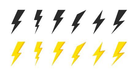 Lightning icons set. Thunder and Bolt. Flash icon. Lightning bolt. Black and yellow silhouette. Vector Illustration Ilustração