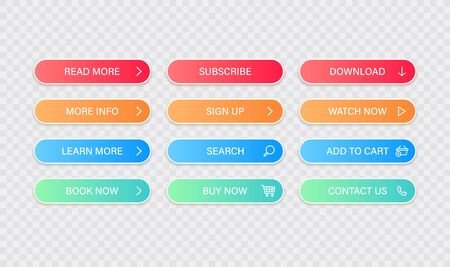 Big collection buttons Read More, learn more, download, subscribe, buy now, sign up, search, conatact us. Different colorful button set. Web icons. Vector illustration 向量圖像