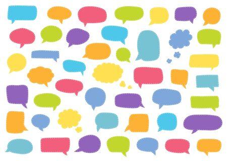 Set of speech bubbles. Blank retro empty comic bubbles. Stickers. Dialog balloons. Vector illustration Ilustração
