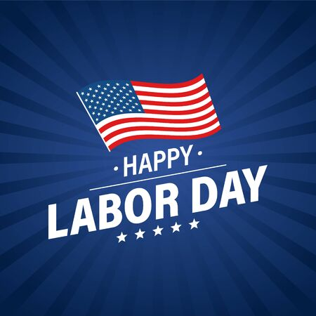 Labor day holiday banner. Happy labor day greeting card. USA flag. United States of America. Work, job. Vector illustration