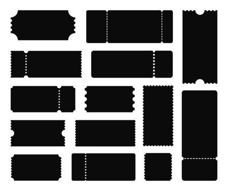 Big set of ticket templates. Black Ticket. Concert ticket, coupon. Vector illustration Ilustração