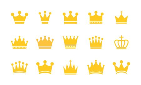 Big collection quolity crowns. Gold crown. Royal Crown icons collection set. Vintage crown. Vector illustration 写真素材 - 129769597