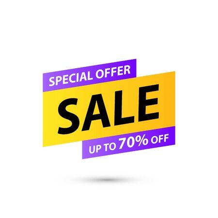 Sale tag. Special offer, big sale, discount, best price, mega sale banner. Shop or online shopping. Sticker, badge coupon store Vector Illustration Ilustração