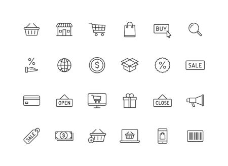 Set of 24 E-commerce and shopping web icons in line style. Mobile Shop, Digital marketing, Bank Card, Gifts. Vector illustration  イラスト・ベクター素材
