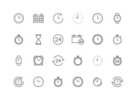 Set of 24 Time and clock web icons in line style. Timer, Speed, Alarm, Calendar. Vector illustration