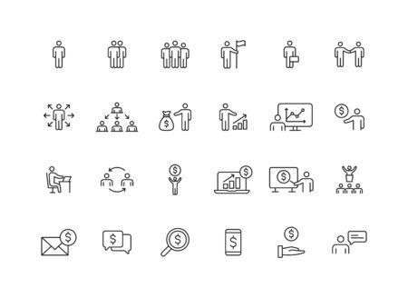 Set of 24 Business people and teamwork web icons in line style. Business, teamwork, leadership, manager. Vector illustration Ilustração