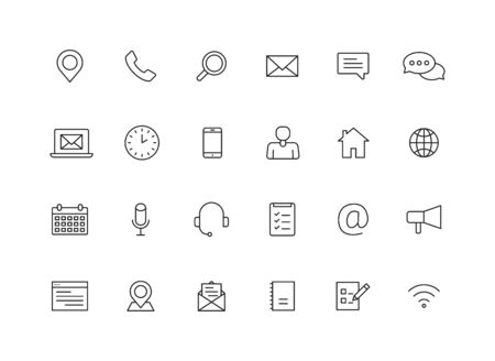Set of 24 Contact Us icons in line style. Web and mobile icon. Chat, support, message, phone. Vector illustration Ilustração