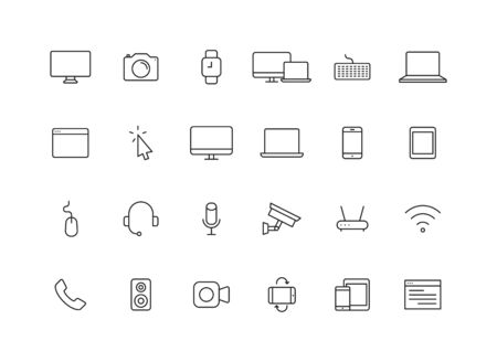 Set of 24 Device and technology web icons in line style. Computer monitor, smartphone, tablet and laptop. Vector illustration