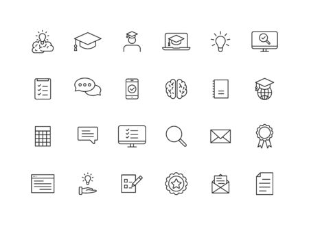 Set of 24 Education and Learning web icons in line style. School, university, textbook, learning. Vector illustration Stock Vector - 129771124