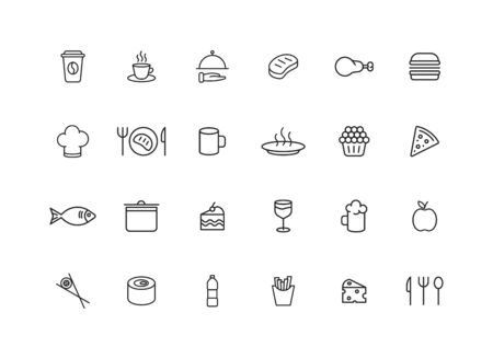 Set of 24 Food and Drink web icons in line style. Coffe, water, eat, restaurant, fastfood. Vector illustration Ilustração