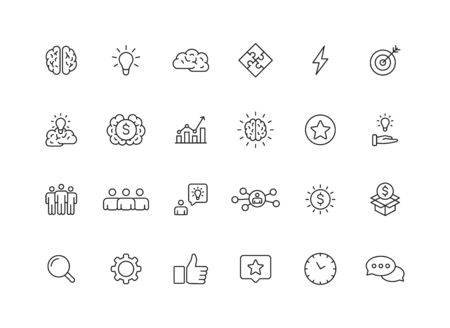 Set of 24 Creativity and Idea web icons in line style. Creativity, Finding solution, Brainstorming, Creative thinking, Brain. Vector illustration Ilustração