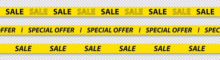 Big sale, discount, mega sale, special offer, red and yellow tapes isolated on transparent background. Vector illustration
