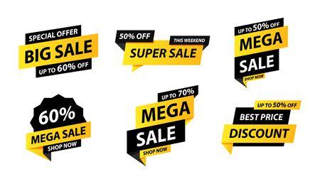 Sale tags collection. Special offer, big sale, discount, best price, mega sale banner set. Shop or online shopping. Sticker, badge, coupon store Vector Illustration