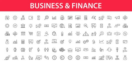Big set of Business and Finance web icons in line style. Money, bank, contact, infographic. Icon collection. Vector illustration