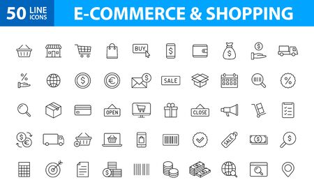 Set of 50 E-commerce and shopping web icons in line style. Mobile Shop, Digital marketing, Bank Card, Gifts. Vector illustration