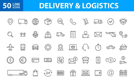Set of 50 Delivery and logistics icons in line style. Courier, shipping, express delivery, tracking order, support, business. Vector illustration