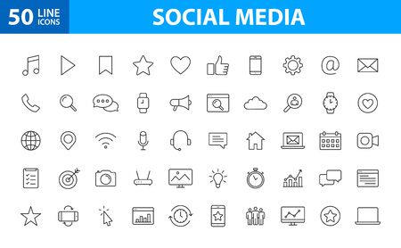 Set of 50 Social Media icons in line style. Contact, digital, social networks, technology, website. Vector illustration