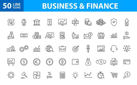 Set of 50 Business and Finance web icons in line style. Money, dollar, infographic, banking. Vector illustration