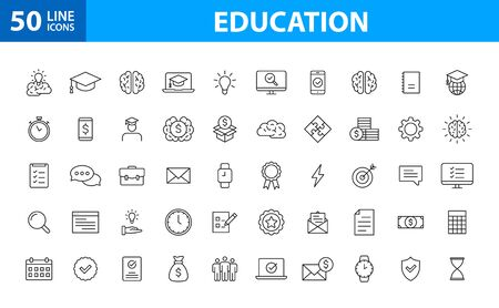Set of 50 Education and Learning web icons in line style. School, university, textbook, learning. Vector illustration